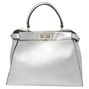 Fendi Metallic Silver Selleria Leather Medium Peekaboo Top Handle Bag