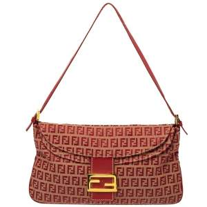Fendi Red Zucchino Canvas and Leather FF Flap Shoulder Bag