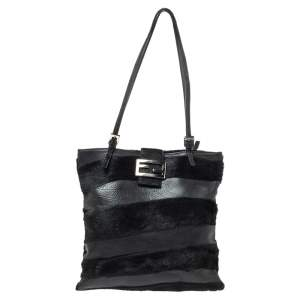 Fendi Black Stripe Leather and Calfhair FF Flap Tote
