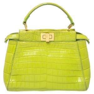 Fendi Apple Green Crocodile Mini Peekaboo Top Handle Bag