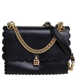 Fendi Black Leather Kan I Scalloped Shoulder Bag