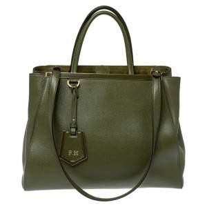 حقيبة يد فندي  جور جلد خضراء زيتونية متوسطة