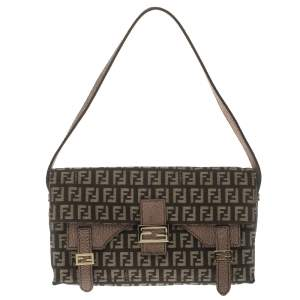 Fendi Brown Zucca Canvas and Textured Leather Sweety Sweet Baguette Bag