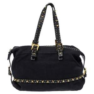Fendi Black Canvas and Selleria Leather Studded Shoulder Bag