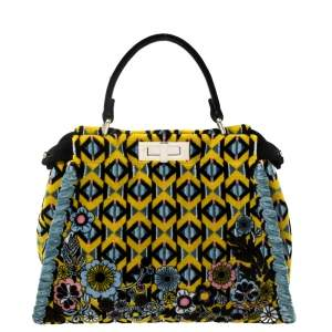 Fendi Multicolor Printed Velvet Medium Peekaboo Top Handle Bag
