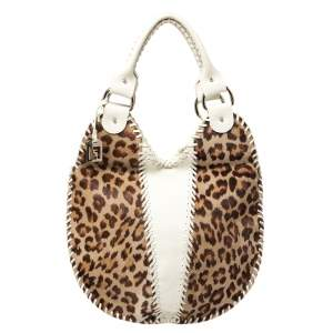 Fendi White/Brown Leopard Print Calfhair and Leather Whipstitch Hobo