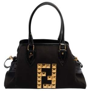 Fendi Black Canvas and Patent Leather Medium Studded De Jour Bag