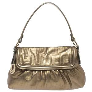 Fendi Metallic Olive Green Zucca Embossed Leather Chef Shoulder Bag