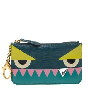 Fendi Crayons Saffiano Leather Monster Crystal Tooth Key Case