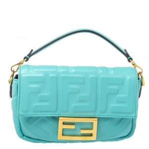 Fendi Light Blue FF Logo Embossed Leather Mini Baguette Bag