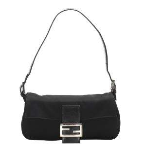 Fendi Black Canvas Baguette