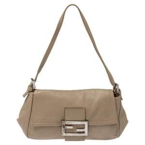 Fendi Beige Leather Mamma Baguette Bag