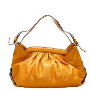 Fendi Orange Leather Borsa Doctor Shoulder Bag