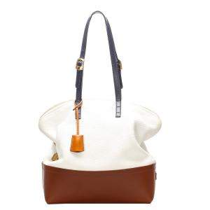 Fendi White/Brown Leather Selleria Shoulder Bag