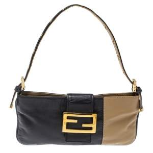Fendi Black/Beige Leather FF Flap Baguette Bag