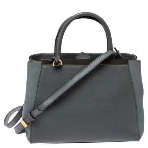 حقيبة يد فندي 2جور صغيرة جلد سافيانو رمادية
