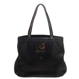 Fendi Black Shimmery Suede Chain Detail Handle Tote