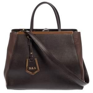 حقيبة يد فندي 2جور جلد بني داكنة متوسطة