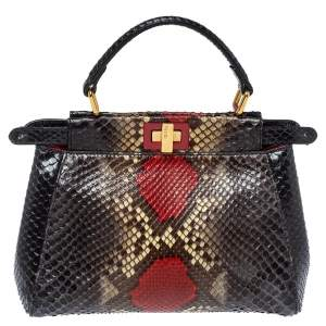 Fendi Multicolor Python Mini Peekaboo Top Handle Bag