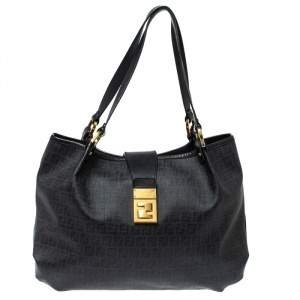 Fendi Black Zucchino Coated Canvas and Leather Chiusura Tote