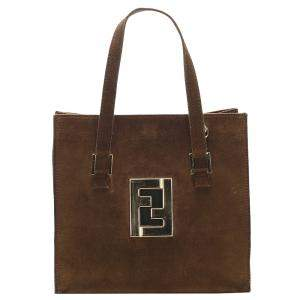 Fendi Brown Suede Vintage Tote Bag