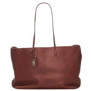 Fendi Red Leather Selleria Tote Bag
