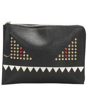 Fendi Black Studded Leather Monster Clutch Bag
