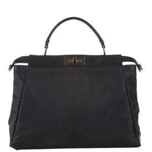Fendi Black Leather Peekaboo Satchel Bag