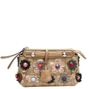 Fendi Beige Leather-Trimmed Embellished Bag