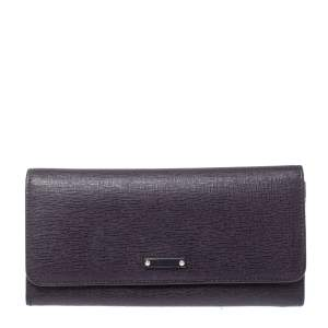 Fendi Purple Leather Elite Continental Wallet