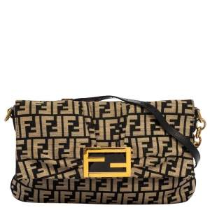 Fendi Black/Beige Zucca Canvas Mia Crossbody Bag