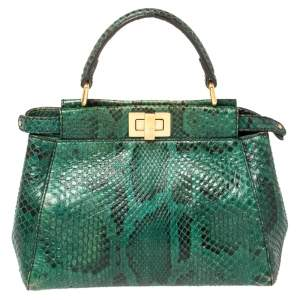 Fendi Green/Black Python Mini Peekaboo Top Handle Bag