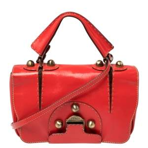 Fendi Red Patent Leather Secret Code Satchel