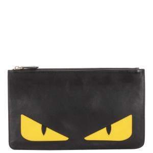 Fendi Black Monster Leather Clutch Bag