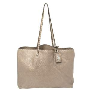 Fendi Metallic Silver Selleria Leather Tote