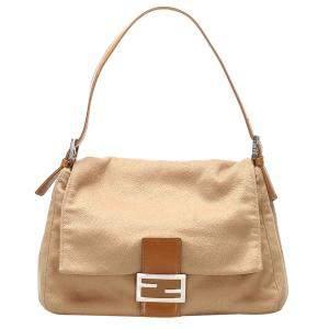 Fendi Brown/Light Brown Fabric Cotton Shoulder Bag
