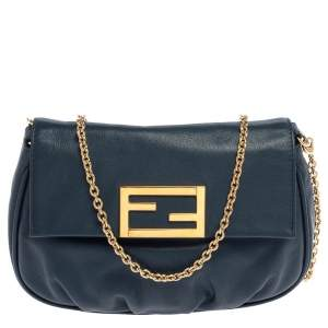 Fendi Blue Leather Fendista Pochette Crossbody Bag