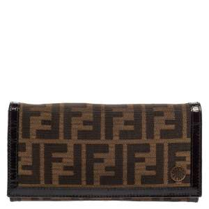 Fendi Tobacco Zucca Canvas and Patent Leather Flap Continental Wallet