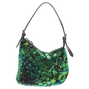 Fendi Green/Black Sequins and Leather Small Oyster Hobo