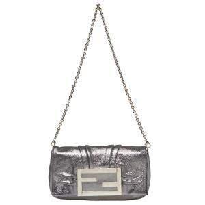 Fendi Metallic Silver Leather Mia Pochette Bag
