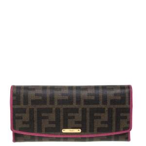 Fendi Tobacco/Pink  Zucca Coated Canvas and Leather Continental Wallet