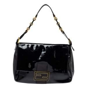 Fendi Black Patent Leather Large Mamma Forever Flap Shoulder Bag