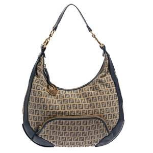 Fendi Beige/Blue Zucchino Canvas and Leather Pocket Chef Hobo