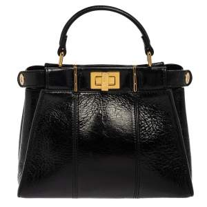 Fendi Black Crinkled Leather Mini Peekaboo Top Handle Bag