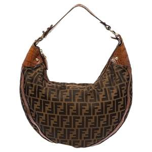 Fendi Tobacco Zucca Canvas and Croc Leather Chef Hobo