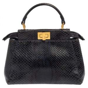 Fendi Navy Blue/Black Python Mini Peekaboo Top Handle Bag