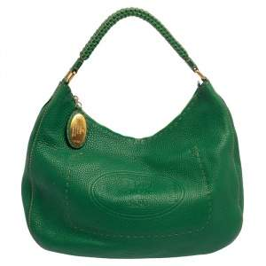 Fendi Green Leather Selleria Hobo
