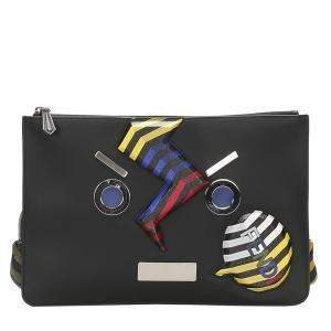 Fendi Black Multicolor Face No Word Leather Clutch Bag