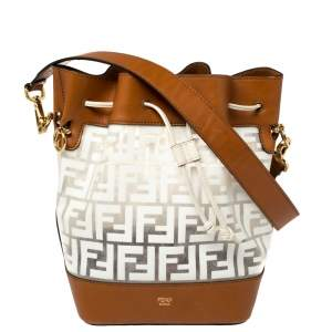 Fendi White/Brown Zucca PVC and Leather Mon Tresor Bucket Bag