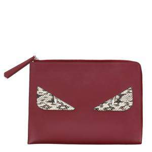 Fendi Red Monster Leather Clutch Bag